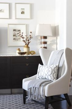 Love colour of chairs - pillow in gray and white and can put throw over to protect. Do this with Steven and Chris chairs.