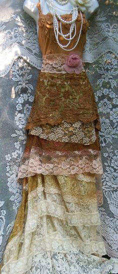 Beige wedding dress tea stained lace silk romantic feminine boho altered clothing chic women's fashion by vintageopulence