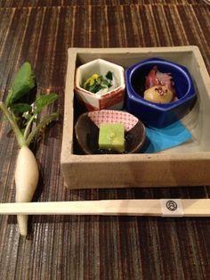 Japanese Appetizer (Chopsticks Rest is a Fresh Daikon White Radish)|和の前菜