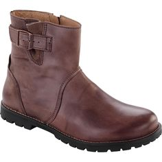 Birkenstock Stowe Boot - Women's Dark Brown Leather 39. Cork and latex footbed designed to mirror the shape of a healthy foot and provide a natural walking environment. More toe room allowing toes to move naturally, which promotes better balance and correct foot alignment from toe to heel. Raised toe bar encourages natural gripping motion of your feet, exercises the legs and stimulates circulation. Contoured footbed ensures even weight distribution and proper posture. Deep heel cup…