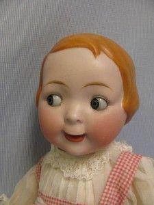"16"" Antique HERTEL SCHWAB GOOGLY Rare MOLDED HAIR Slant-Hip Toddler"