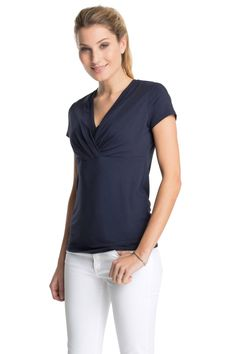 Esprit - Jersey T-Shirt mit Wickel-Ausschnitt im Online Shop kaufen