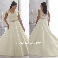 V-neck Beading With Lace Organza Floor-Length A-Line Wedding Dress.