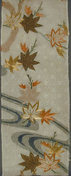 Fragment of a Kosode (Kimono) with Design of Maple Leaves and Water | LACMA Collections