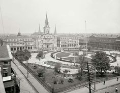 Jackson Square with The Cabildo and St Louis Cathedral in the background! Taken in the early 1900's!