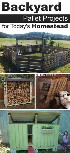 Pallet Woodworking These projects not only can improve quality of your life, but building them can also be a great decision for your budget. - Here are a few of our favorite pallet projects to make for the homestead. Pallet Crafts, Diy Pallet Projects, Outdoor Projects, Farm Projects, Backyard Projects, Recycled Pallets, Wooden Pallets, Wooden Sheds, Woodworking Plans