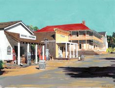 Calhoun Street Old Town san Diego 2009, acrylic painting on canvas by RD Riccoboni®, one of America's favorite cultural heritage artists.  From The Beacon Artworks Gallery Collection at Fiesta de Reyes in  Old Town San Diego State Historic Park. If you would like to get involved in preserving these historic sites like this please contact Save Our Heritage Organisation at sohosandiego.org