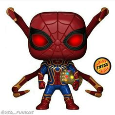 Spider Man with the infinity gaunlet Funko Pop Spiderman, Funko Pop Marvel, Spider Man Funko Pop, Custom Funko Pop, Funko Pop Vinyl, Funko Pop Figures, Pop Vinyl Figures, Funko Pop Display, Funko Pop Dolls