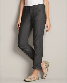 Textured Cotton Weekend Cargo Pants | Eddie Bauer..I have two pairs...one in khaki, one in grey. LOVE like my childhood blanket. Wear with heels, espadrilles, gladiator sandals and flops, sneakers, any type of ankle boot.
