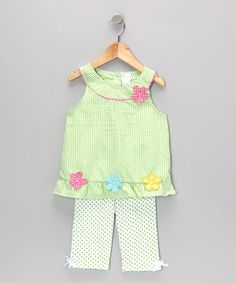 Take a look at this Green Gingham Flower Tunic & Leggings - Infant & Toddler by Coney Island Kids on #zulily today!