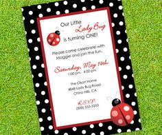 Your place to buy and sell all things handmade Ladybug Invitations, Baby Shower Invitations, Birthday Invitations, Baby Girl Birthday, 2nd Birthday, Birthday Ideas, Birthday Celebration, Birthday Parties, Kid Parties