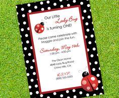 Ladybug Invitation - Birthday or Baby Shower Invitation - Lady Bug and Polka dots. $15.00, via Etsy.