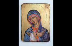 Panagia-Mother of God - handpainted Greek Christian Orthodox byzantine icon 05 Religious Images, Religious Icons, Religious Art, Mother Mary Images, Images Of Mary, Madonna, Mother Painting, Paint Icon, Byzantine Icons