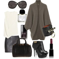 The Row Libby cashmere cocoon cardigan, Vionnet Asymmetric silk-cady top, Alexander Wang Lace-Up Croco Embossed Leather Mini Skirt, Sergio Rossi Leather platform ankle boots, Alexander Wang Rockie Duffel, Givenchy Obsedia Leather Bracelet,Tom Ford Eyewear Whitney Sunglasses.