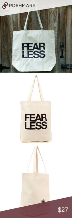 """Dogeared Fear Less Canvas Tote Carry all your necessary things in a tote bag you and the planet will absolutely LOVE …and this is it! This loveable tote features double hand straps, easy-access open and glossy printed message that says everything we need it to. Take this conversation-starting style everywhere you go…because seriously, it's extra, extra awesome.  Make me an offer! natural 100% cotton canvas  18""""w x 17.5""""h x 7""""gusset  11"""" strap drop Be brave  inside hanging pocket Dogeared…"""