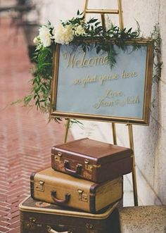 Our wedding in the Boston Public Library - Wedding Decor Vintage Suitcase Wedding, Vintage Wedding Signs, Wedding Welcome Signs, Chic Wedding, Vintage Suitcases, Trendy Wedding, Vintage Luggage, Elegant Wedding, Dream Wedding