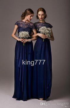 Wholesale Bridesmaid Dress - Buy King 2014 Elegant Cheap Bridesmaid Dresses Dress Formal Gowns Chiffon Royal Blue Short Sleeves Ruffles Lace Long Backless DRESS, $108.88 | DHgate