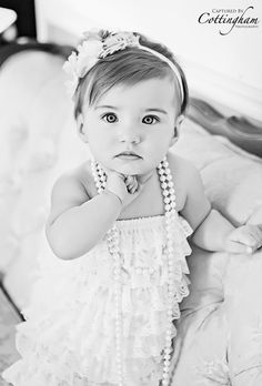One year old Session. Captured By Cottingham Photography Studio. Jonesboro, Arkansas NEA, Classic look, black and white, lace and pearls!