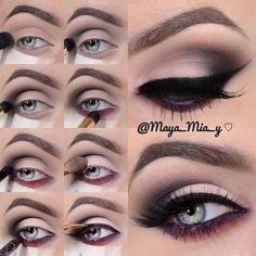 Perfect Cat Eye Liner Makeup Tutorial The initial make use of of model make-up Eye Makeup Steps, Cat Eye Makeup, Skin Makeup, Plum Makeup, Love Makeup, Makeup Looks, Amazing Makeup, Maya Mia, Seductive Eyes