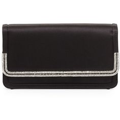 Judith Leiber Couture Lenox Satin Crystal-Trim Clutch Bag (€1.830) ❤ liked on Polyvore featuring bags, handbags, clutches, clutches / wallets / purses, black, strap purse, judith leiber, flap purse, handbag purse and judith leiber handbags