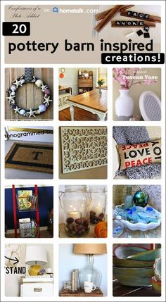 Pottery Barn inspired décor--without the price! Love these ideas :) Diy Arts And Crafts, Diy Crafts, Pottery Barn Hacks, Knock Off Decor, Ikea, Pottery Barn Inspired, Thrift Store Crafts, Do It Yourself Home, Fun Projects