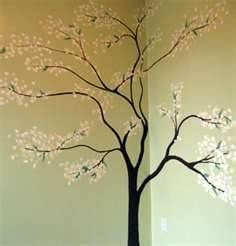 Hand Painted Tree Wall Painting Art Artwork