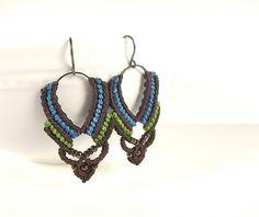 Macrame Earrings Blue Green and Dark Brown Thread by neferknots.