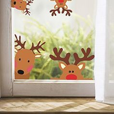 Reindeer Window Decals Nursery Wall Stickers Car Decal Home Decorations 10 Count (Reindeer Decals) Wall Stickers Cars, Nursery Wall Stickers, Wall Decals, Christmas Crafts For Kids, Christmas Diy, Merry Christmas, Christmas Window Decorations, Theme Noel, Window Decals