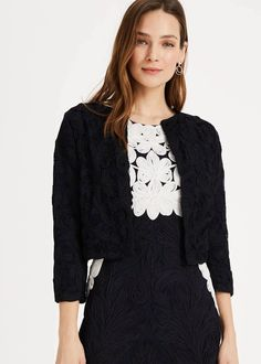 Buy Phase Eight Women's Blue Catheleen Tapework Lace Jacket. Similar products also available. Mother Of Bride Outfits, Lace Jacket, Dress Shapes, Phase Eight, Fitness Fashion, Looks Great, Personal Style, Rompers, Long Sleeve