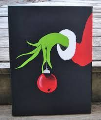 How The Grinch Stole Christmas Canvas Painting Wall Art Grinch Christmas Kids Easy Canvas Painting, Diy Canvas, Easy Paintings, Acrylic Canvas, Canvas Ideas, Painting Art, Simple Paintings On Canvas, Painting Pictures, Canvas Pictures