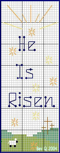 """He Is Risen"" bookmark cross stitch pattern"
