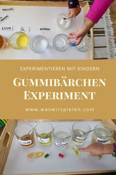 Experimenting with children - gummy bear experiment- Experimentieren mit Kindern – Gummibärchen Experiment A simple and exciting experiment with … - Gummy Bear Experiment, Kid Experiments, E Mc2, Montessori Materials, Adhd Kids, Kids Corner, Gummy Bears, Science And Nature, Cooking Timer