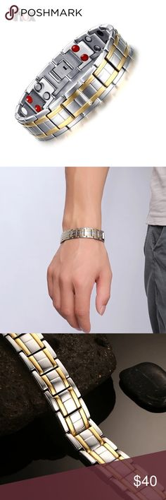 """Magnetic Germanium Titanium Bracelet Silver Black Brand new Price firm No trades Gift box included  Metal: Titanium  Color: Silver or Black Finish: Polished Width: Silver 15mm, Black 12mm Length: Silver 8"""", Black 8.5""""  Benefits of Germanium, Magnet: Renew balance and strength, reduce fatigue, muscle tension and increase flexibility.  Improve blood circulation  Alleviate discomfort and depression, tranquilize the mind and improve sleep  Enhance mental focus It will reduce the chance to get…"""