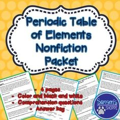 Periodic table of elements winter atomic number activity atomic periodic table of elements nonfiction article and activity this product is for two nonfiction reading packets for students to gain an understanding of the urtaz Choice Image