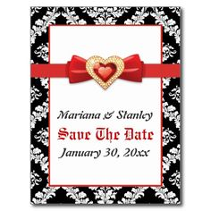 Black white damask with red jewel Save the Date Postcard