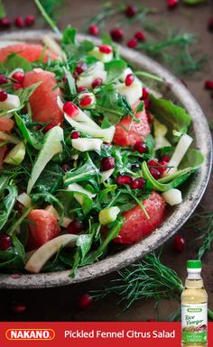Make the most of winter with this Pickled Fennel Citrus Salad from Running to the Kitchen. Full of grapefruit, pomegranates, and fresh fennel quickly pickled in Nakano Natural Rice Vinegar, it's tart, tangy and totally good for you too.