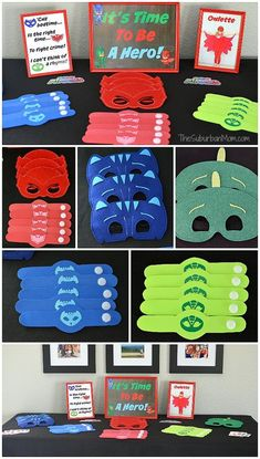PJ Masks Birthday Party Ideas And Free Printables - The Suburban Mom - Ashley Taylor - PJ Masks Birthday Party Ideas And Free Printables - The Suburban Mom PJ Masks Party Favors - Pj Mask Party Decorations, Pj Masks Party Favors, Festa Pj Masks, 50th Birthday Party Decorations, Fourth Birthday, 4th Birthday Parties, Boy Birthday, Birthday Ideas, Paris Birthday