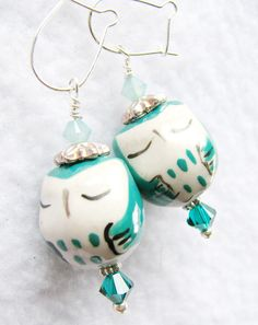 These are so adorable! Owl Earrings owl jewelry aqua teal blue Owl by Jewels4Thought, $14.00