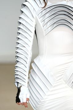 Sculptural Fashion - monochrome dress with an experimental 3D structure using shape repetition and symmetry; futuristic fashion // Gareth Pugh