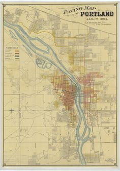 This is a beautifully rendered map of Portland by City Surveyor T.M. Hurlburt. It includes color coded references to the composition of many Portland streets. River depths and ferry crossings are also noted.