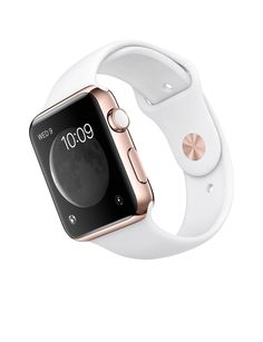 Apple Watch Edition - Rose Gold Case with White Sport Band - Apple A great range of steel apple watch bracelets to suit every occasion Sport Watches, Cool Watches, Watches For Men, Cute Apple Watch Bands, Apple Band, Apple Watch Fashion, Rose Gold Apple Watch, White Apple Watch Band, Accessoires Iphone