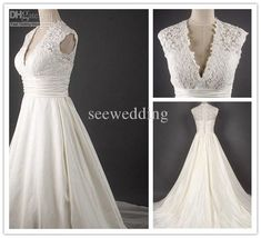 Wholesale A Line Sexy Deep V Neck Empire Cap Sleeves Cathedral Train Lace Chiffon Wedding Gowns Wedding Dress, Free shipping, $201.6-224.0/Piece   DHgate