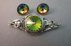 VTG Rivoli Brooch Earrings Watermelon Green Pink Silver Repousse Victorian Style…