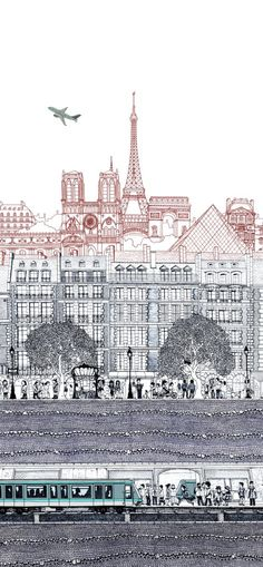 Paris by Paul Imrie - cool cityscape project, using line variation, and simple perspective.