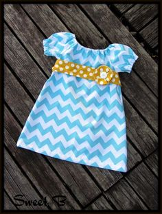 Chevron Peasant Dress with Sash & Flower by SweetBClothing on Etsy, $29.50
