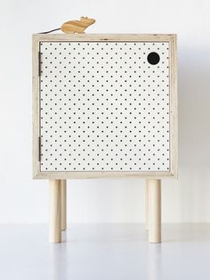 Bedside Table – Ply And White Pegboard - Leanne Culy furniture