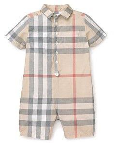 Burberry Infant Boys' Kirk Check Woven Shortall - Sizes 3-9 Months