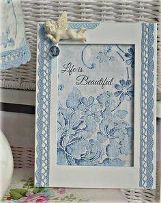 Alice-in-wonderland / Shabby blue ramik - frame