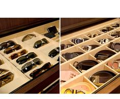 Eyeglasses stored in the drawer by Lisa Adams of LA Closet Design | Collections | It's In the Details