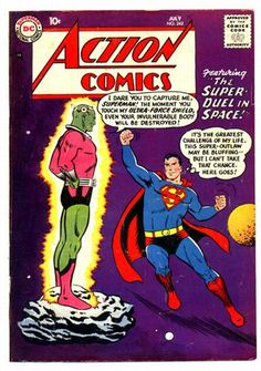 Action Comics 242 (July 1958) First Brainiac and the first appearance of The City of Kandor. The cover illustration is by Curt Swan. The story is written by Otto Binder, concocting quite an original sci-fi story. Al Plastino illustrates the story.